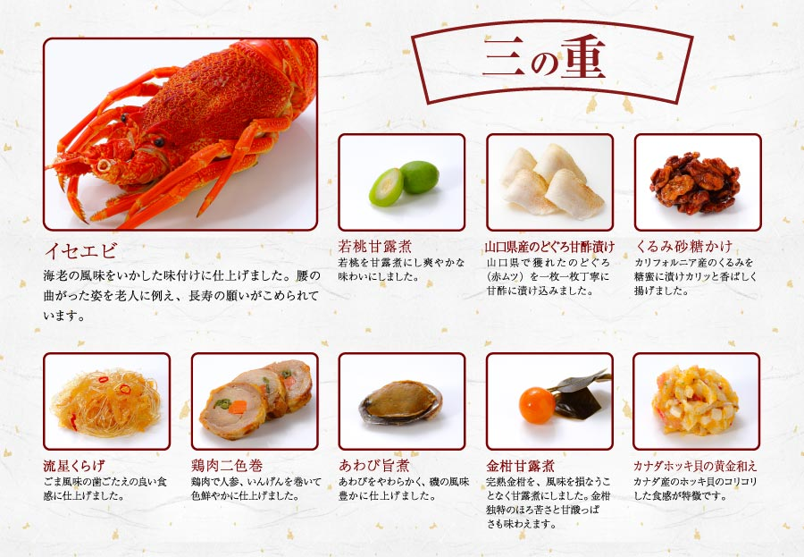 三の重紹介「2022はま寿司おせち 彩り三段重」
